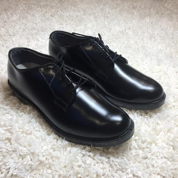 New Mens Black Leather Oxford Dress